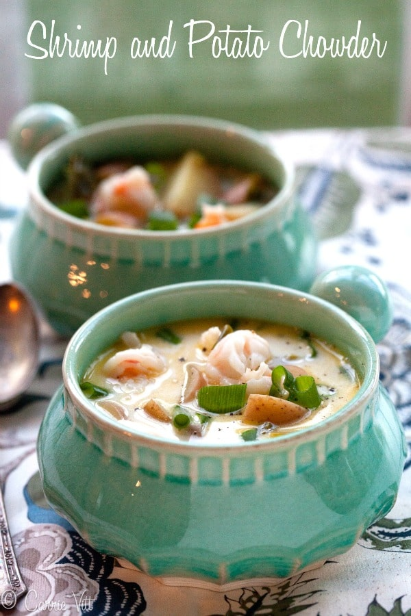 Good hearty soups and stews like this shrimp and potato chowder, form the backbone of our family's diet. They're nutrient-dense and usually don't take a lot of hand's-on prep.