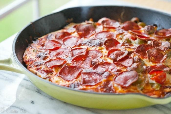 Grain Free Deep Dish Pizza Recipe via DeliciouslyOrganic.net #grainfree #pizza #recipe