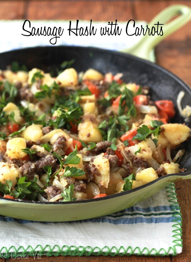 This paleo, grain free sausage hash is such a versatile recipe! You can change out the meat and add whatever veggies you have on hand.