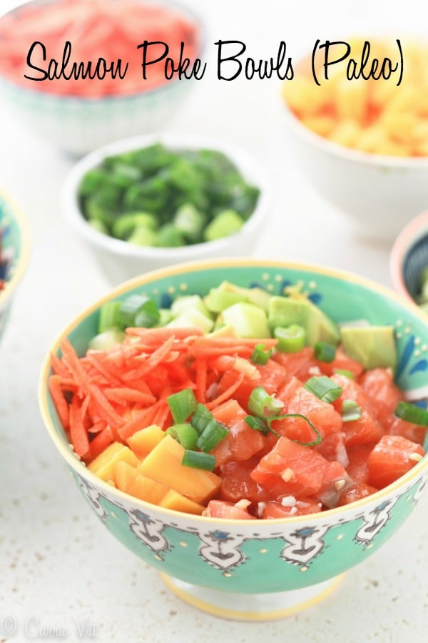 Salmon poke bowls are a fun and healthy meal that lets everyone in the family choose their own toppings! So easy to prep the ingredients ahead of time for a simple dinner.