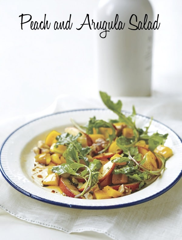 Peach and Arugula Salad provides a big payoff for very little effort. Serve it in a wide bowl to show off its good looks.