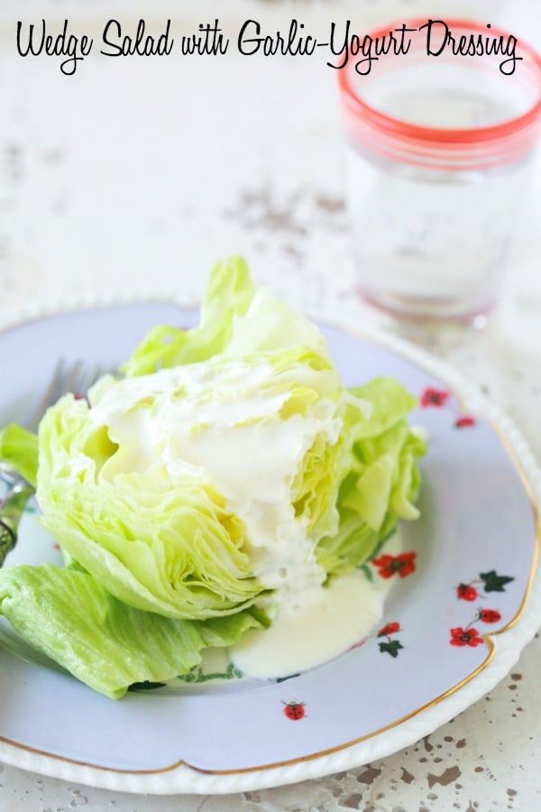 Wedge Salad with Garlic and Yogurt Dressing is one of my staple salad recipes for the family. It pairs really well with grilled meats, veggies and seafood. You can make a large batch of the dressing and store it in the fridge to use all week long.