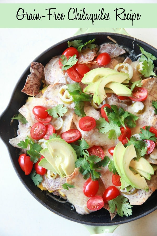 A serving of grain-free Chilaquiles totally feels like cheating! It's kinda like enjoying fancy nachos for breakfast – perfect for a lazy weekend morning.