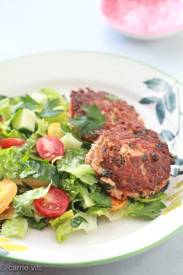 These salmon cakes have become a new family favorite! They have so much flavor there's no need for a sauce, and they make for great leftovers!