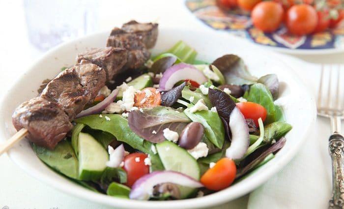Greek Salad with Beef Kabobs