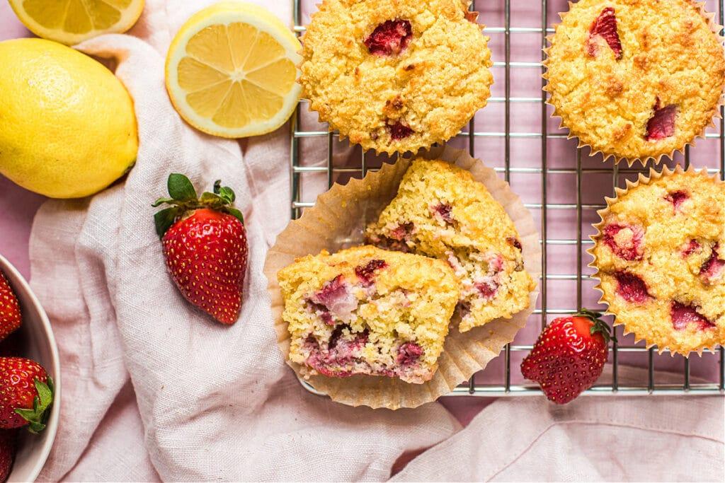 Strawberry Lemonade Muffins (Grain-Free)