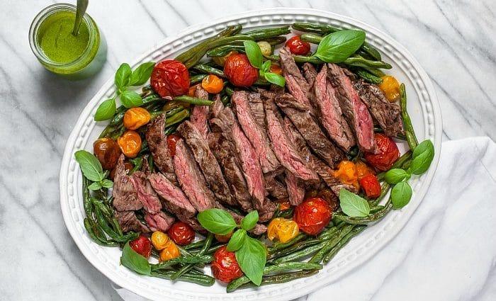 Skirt Steak with Green Beans, Tomatoes and Basil Vinaigrette