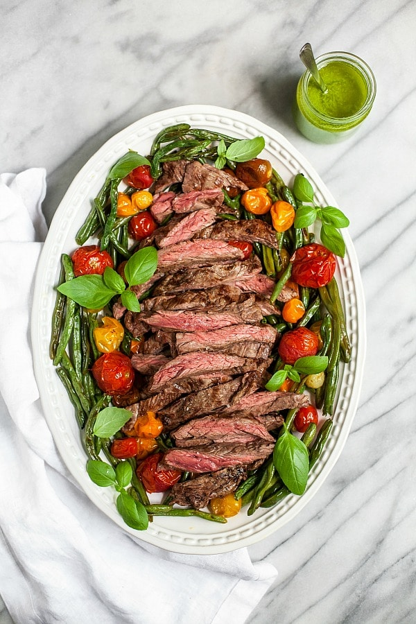 Skirt Steak with Green Beans, Tomatoes and Basil Vinaigrette
