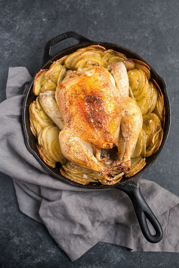 Cast Iron Roast Chicken with Potatoes (Grain-Free)