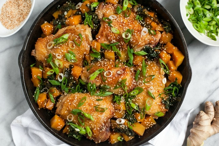 Braised Chicken Thighs with Squash and Kale (Grain-Free)