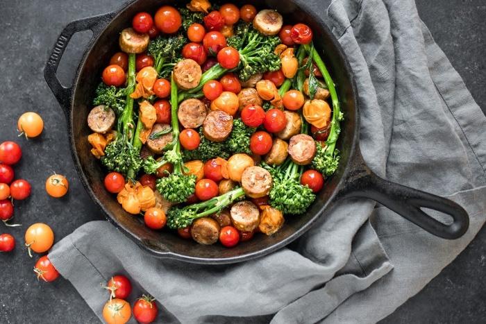 Sausage, Cherry Tomato and Broccoli Skillet