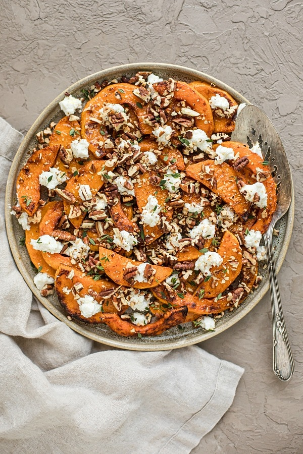 Roasted Butternut Squash with Goat Cheese and Pecans